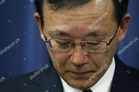 Japanese Justice Minister Sadakazu Tanigaki Reacts During a Press Conference at the Justice Ministry in Tokyo Japan 21 February 2013 Japan Hanged Three Death-row Inmates on 21 February in the First Executions Under Prime Minister Shinzo Abe's Government a Local Media Reported the Executions Were the First Since September 2012 Japan and the United States Are Among the Few Major Industrialized Democracies That Still Impose Death Sentences Japan Tokyo