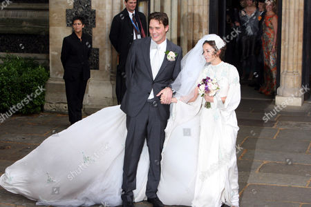 Jack Macdonald and Leah Wood leaving church after their wedding