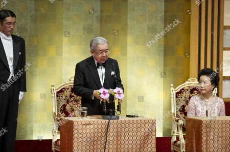 Japanese Prince Hitachi (c) Presents a Speech During the Praemium Imperiale Awards Ceremony in Tokyo Japan 23 October 2012 the Award is Presented Annually by the Japan Art Association For Painting Architecture Sculpture Music and Theater/film Japan Tokyo