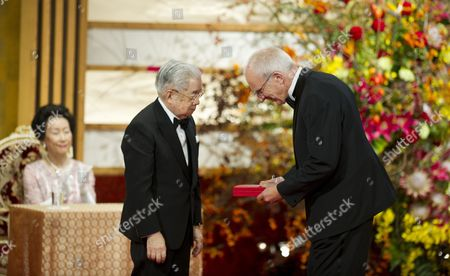 Japanese Prince Hitachi (l) Presents a Gold Medal to Danish Architect Troels Troelsen on Behalf of Danish Architect Henning Larsen During the Praemium Imperiale Awards Ceremony in Tokyo Japan 23 October 2012 the Award is Presented Annually by the Japan Art Association For Painting Architecture Sculpture Music and Theater/film Japan Tokyo
