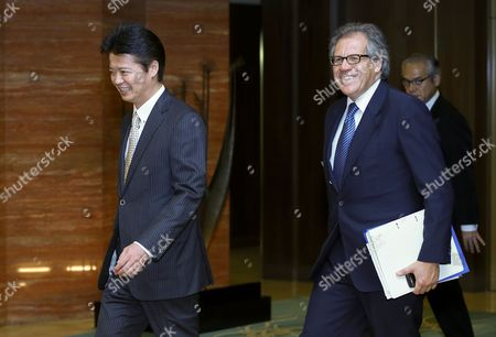 Uruguayan Foreign Minister Luis Leonardo Almagro Lemes (r) with Japanese Counterpart Koichiro Gemba at the Start of Bilateral Talks at the Iikura Annex of the Foreign Ministry in Tokyo Japan 07 November 2012 Japan Tokyo