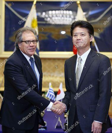 Uruguayan Foreign Minister Luis Leonardo Almagro Lemes (l) Shakes Hands with Japanese Counterpart Koichiro Gemba at the Start of Bilateral Talks at the Iikura Annex of the Foreign Ministry in Tokyo Japan 07 November 2012 Japan Tokyo