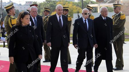 Secretary-general of the Arab League Dr Nabil El Araby (2-r) and Egyptian Foreign Minister Mohammed Kamel Amr (2-l) Arrive to Meet with Palestinian Authority President Mahmoud Abbas (not Seen) in the West Bank City of Ramallah 29 December 2012 - Ramallah