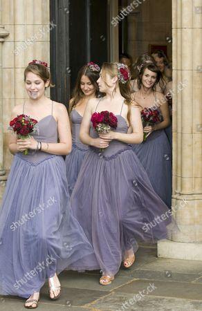 Stock Image of Bridesmaids Lola Kirke, Domino Kirke, Jemima Kirke and Kirsty Taylor