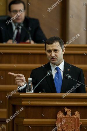 The Prime Minister of Moldova Vladimir Filat Gestures at the Central Tribune of the Moldova's Parliament in Chisinau Moldova on 5 March 2013 Moldova's Parliament Ousted the Filat's Government in a No-confidence Vote on 5 March 2013 Moldova, Republic of Chisinau