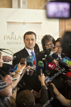 The Prime Minister of Moldova Vladimir Filat Speaks to Scores of Media Repreenttives in the Moldova's Parliament in Chisinau Moldova on 5 March 2013 Moldova's Parliament Ousted the Filat's Government in a No-confidence Vote on 5 March 2013 Moldova, Republic of Chisinau