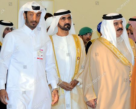 United Arab Emirates' Pm and Ruler of Dubai Sheikh Mohammed Bin Rashid Al-maktoum (2-l) and Bahrain's King Hamad Bin Issa Al-khalifa (r) Arrive For the Opening of the Arab League Summit in Doha Qatar 26 March 2013 the Syrian Opposition was on 26 March Handed Syria's Seat in the Arab League National Coalition Leader Moaz Al-khatib and a Small Delegation Were in Attendance at the Annual Summit of the 22-member Pan-arab Grouping Qatar Doha