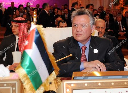 Jordan's King Abdullah Ii and His Son the Crown Prince Hussein (l) Attend the Opening of the Arab League Summit in Doha Qatar 26 March 2013 the Syrian Opposition was on 26 March Handed Syria's Seat in the Arab League National Coalition Leader Moaz Al-khatib and a Small Delegation Were in Attendance at the Annual Summit of the 22-member Pan-arab Grouping Qatar Doha