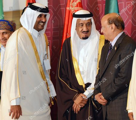 Saudi Crown Prince Salman Al Saud (c) Yemeni President Abdo Rabbo Mansour Hadi (r) Qatar Crown Prince Sheik Tamim Bin Hamad Al-thani (l) Arrive For the Opening of the Arab League Summit in Doha Qatar 26 March 2013 the Syrian Opposition was on 26 March Handed Syria's Seat in the Arab League National Coalition Leader Moaz Al-khatib and a Small Delegation Were in Attendance at the Annual Summit of the 22-member Pan-arab Grouping Qatar Doha