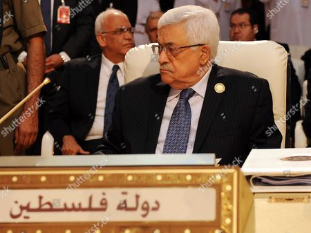 Palestinian President Mahmoud Abbas Looks on During the Opening of the Arab League Summit in Doha Qatar 26 March 2013 the Syrian Opposition was on 26 March Handed Syria's Seat in the Arab League National Coalition Leader Moaz Al-khatib and a Small Delegation Were in Attendance at the Annual Summit of the 22-member Pan-arab Grouping Qatar Doha
