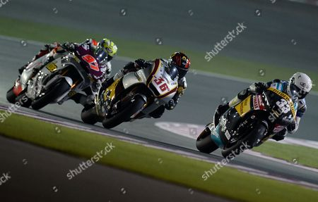Spanish Moto2 Rider Sergio Gadea (r) of the Interwetten Paddock Team Leads the Pack During a Free Practice Session Second Day For the Motorcycling Grand Prix of Qatar at Al Losail International Circuit in Doha Qatar 05 April 2013 the 2013 Motogp World Championship Season's First Race Will Be Held at Losail International Circuit on 07 April 2013 Qatar Doha