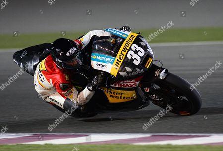 Stock Image of Spanish Moto2 Rider Sergio Gadea of the Interwetten Paddock Teamin Action During the Final Race at the Motorcycle Grand Prix of Qatar at Al Losail International Circuit in Doha Qatar 07 April 2013 Qatar Doha