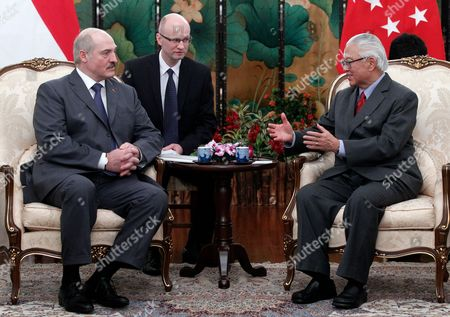 The President of Belarus Aleksandr Lukashenko (l) Speaks with His Singaporean Counterpart Tony Tan (r) During a Meeting at the Istana the Presidential Palace in Singapore 21 March 2013 President Lukashenko is on a Two-day Official State Visit to Singapore Singapore Singapore