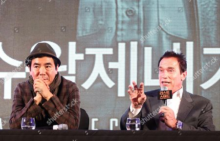 Former Governor of California and Us Actor Arnold Schwarzenegger (r) Speaks with South Korean Director Kim Jee-woon (l) During a Press Conference on Their Film 'The Last Stand' at a Hotel in Seoul South Korea 20 February 2013 the Movie Will Open in South Korean Theaters on 21 February Korea, Republic of Seoul