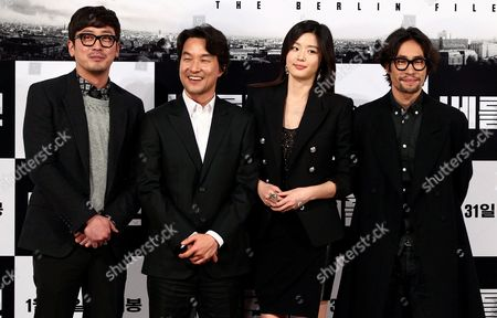 (l-r) South Korean Actors Ha Jung-woo Han Suk-kyu Jun Ji-hyun and Ryoo Seung-beom Pose After a Press Conference on Their Film 'The Berlin File' at Wangsipri Cgv Theater in Seoul South Korea 21 January 2013 the Movie Will Open in South Korean Theaters on 31 January Korea, Republic of Seoul