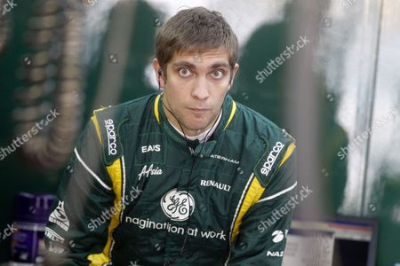 Russian Formula One Driver Vitaly Petrov of Caterham F1 Team is Seen Inside the Garage Before the Third Practice Session at the Korean International Circuit in Yeongam South Korea 13 October 2012 Korea, Republic of Yeongam