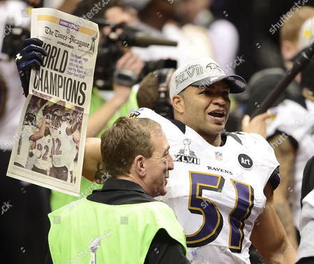 Baltimore Ravens Inside Linebacker Brendon Ayanbadejo Holds a Copy of the Times Picayune After the Baltimore Ravens Defeated the San Francisco 49ers 34-31 to Win Super Bowl Xlvii in New Orleans Louisiana Usa 03 February 2013 United States New Orleans