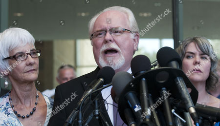 Us Rep Ron Barber of Tucson with His Wife Nancy (left) and Daughter Jenny Talk to the Media Outside the Us Federal Court in Tucson Arizona 07 August 2012 After Jared Lee Loughner Pleaded Guilty in the Tucson Shooting Attack Last Year That Killed Six People and Wounded 13 Including Then-rep Gabrielle Giffords Loughner Pleaded Guilty to 19 of the 49 Charges Against Him in the Jan 8 2011 Shooting Spree at a Grocery Store Just Outside of Tucson Arizona United States Tucson