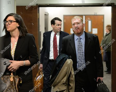 Stock Picture of Arapahoe County Defender Daniel King Arrives For the Plea Hearing of Alleged Shooter James Holmes at the Arapahoe District Courthouse in Centennial Colorado Usa 12 March 2013 King Told Judge William Sylvester (not Pictured) That He was not Ready to Submit a Plea For Holmes the Judge Applied a Standard not Guilty Plea For Holmes Holmes is Suspected of Killing 12 and Wounding 58 at the Century 16 Theater in Aurora Colorado Usa Early 20 July 2012 United States Denver