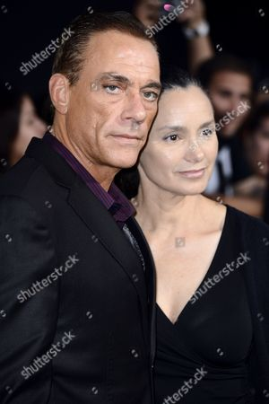 Belgian Actor and Cast Member Jean-claude Van Damme (l) and Wife Gladys Portugues (r) Arrive For the World Premiere of 'The Expendables 2' at Grauman's Chinese Theatre in Hollywood California Usa 15 August 2012 United States Hollywood
