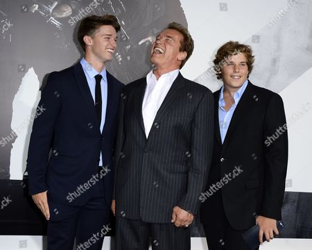 Austrian Actor and Cast Member Arnold Schwarzenegger (c) and Sons Patrick (l) and Christopher (r) Arrive For the World Premiere of 'The Expendables 2' at Grauman's Chinese Theatre in Hollywood California Usa 15 August 2012 United States Hollywood