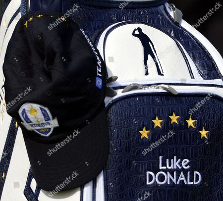 Team Europe Player Luke Donald's Bag Shows a Silhouette Image of Golf Great Seve Ballesteros in His Famour Celebration Pose Upon Winning the British Open in 1984 at Sst Andrews As the Bag Sits on the Course During a Practice Round at Medinah Country Club Before the Start of the 2012 Ryder Cup Between Team Usa and Team Europe in Medinah Illinois Usa 26 September 2012 the Ryder Cup Officially Begins 27 September with an Opening Ceremony and Competition Begins 28 September United States Medinah