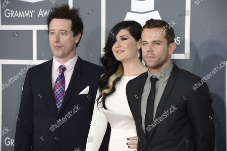 French Singer Morgan Kibby (c) Joins Two Unidentified Members of the French Group M83 As They Arrive For the 55th Annual Grammy Awards in Los Angeles California Usa 10 February 2013 United States Los Angeles