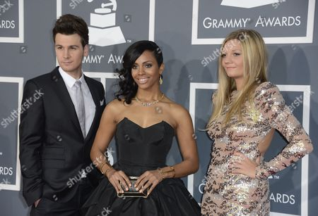 Us Singers John Thomas Jade Novah and Beaux Saunders of Hit Lab Group Arrive For the 55th Annual Grammy Awards in Los Angeles California Usa 10 February 2013 United States Los Angeles