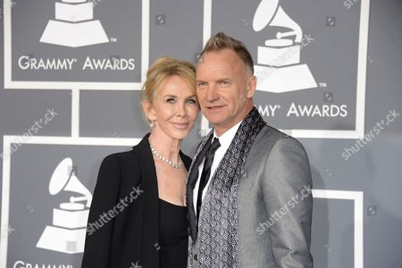British Musician Sting and Wife Trudy Styler Arrives For the 55th Annual Grammy Awards in Los Angeles California Usa 10 February 2013 United States Los Angeles