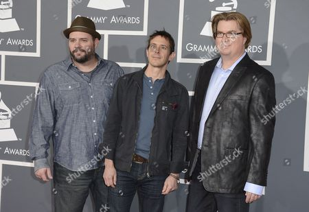 Members of the Us Band Toad the Wet Sprocket (l-r) Todd Nichols Glen Phillips and Dean Dinning Arrive For the 55th Annual Grammy Awards in Los Angeles California Usa 10 February 2013 United States Los Angeles