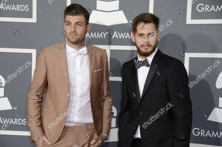 (l-r) Musicians Cubbie Fink and Mark Foster of Foster the People Arrives For the 55th Annual Grammy Awards in Los Angeles California Usa 10 February 2013 United States Los Angeles