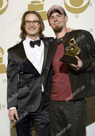 Us Songwriters Josh Kear (l) and Chris Tompkins (r) Holds the Awards Best Country Song at the 55th Annual Grammy Awards in Los Angeles California Usa 10 February 2013 United States Los Angeles