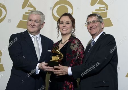 Stock Photo of Us Sound Engineers Jim Anderson (l) Darcy Proper (c) and Michael Friedman (r) Hold the Award For Best Surround Sound Album at the 55th Annual Grammy Awards in Los Angeles California Usa 10 February 2013 United States Los Angeles