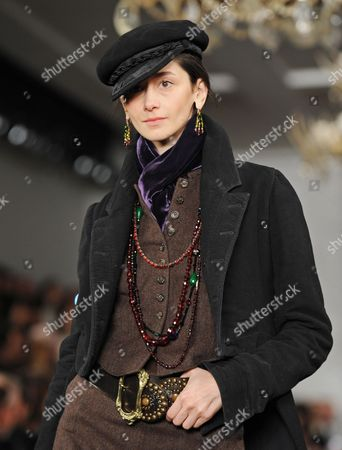 Stock Photo of Argentine Model Cecilia Mendez Presents a Creation From Ralph Lauren During Mercedes-benz Fall Fashion Week in New York New York Usa 14 February 2013 the Fall 2013 Collections Are Presented From 07 to 14 February United States New York