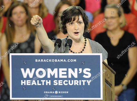 Sandra Fluke Introduces President Barak Obama at the Auraria Event Center in Denver Colorado Usa 08 August 2012 Fluke is the Georgetown University Student who Gained Notoriety After Conservative Talk Show Host Rush Limbaugh Called Her a Slut Because of Her Support For a Portion in the President's Health Care Overhaul That Requires Insurance Companies to Cover Contraception United States Denver