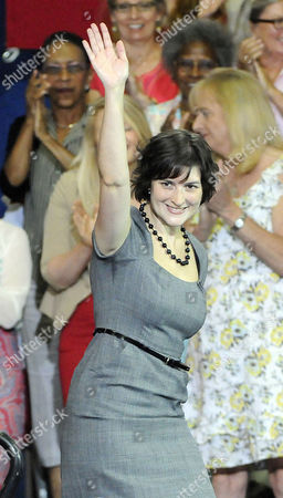 Sandra Fluke Waves Before Introducing President Barak Obama at the Auraria Event Center in Denver Colorado Usa 08 August 2012 Fluke is the Georgetown University Student who Gained Notoriety After Conservative Talk Show Host Rush Limbaugh Called Her a Slut Because of Her Support For a Portion in the President's Health Care Overhaul That Requires Insurance Companies to Cover Contraception United States Denver