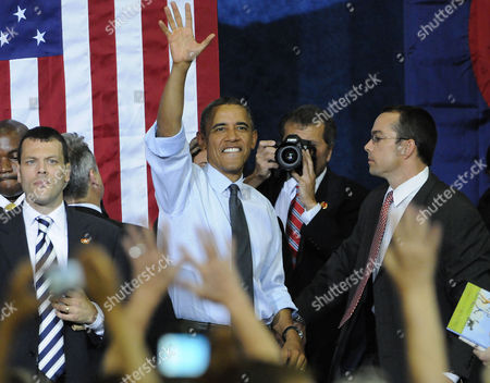 Us President Barak Obama Waves Before Leaving the Auraria Event Center in Denver Colorado Usa 08 August 2012 the President was Introduced by Sandra Fluke the Georgetown University Student who Gained Notoriety After Conservative Talk Show Host Rush Limbaugh Called Her a Slut Because of Her Support For a Portion in the President's Health Care Overhaul That Requires Insurance Companies to Cover Contraception United States Denver