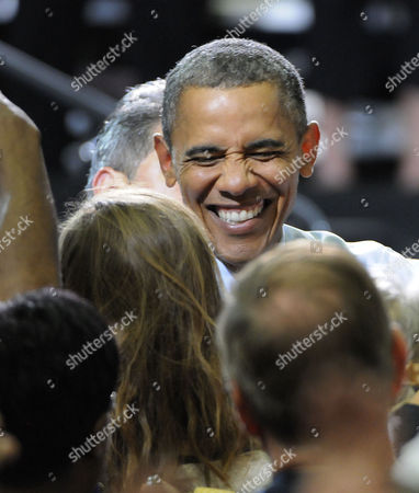 Us President Barak Obama Works the Crowd After Speaking at the Auraria Event Center in Denver Colorado Usa 08 August 2012 the President was Introduced by Sandra Fluke the Georgetown University Student who Gained Notoriety After Conservative Talk Show Host Rush Limbaugh Called Her a Slut Because of Her Support For a Portion in the President's Health Care Overhaul That Requires Insurance Companies to Cover Contraception United States Denver