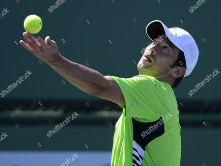 Bjoern Phau of Germany Serves to Jeremy Chardy of France During Their Match at Bnp Paribas Open Tennis Tournament in Indian Wells California Usa 10 March 2013 United States Indian Wells