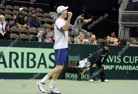 Sam Querrey of the United States Celebrates His Win Over Thiago Alves of Brazil During the Deciding Rubber Match of the Davis Cup 2013 World Group First Round Between the United States and Brazil in Jacksonville Florida Usa 03 February 2013 United States Jacksonville