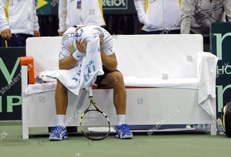Thiago Alves of Brazil Reacts to His Loss to Sam Querrey of the United States During the Deciding Rubber Match of the Davis Cup 2013 World Group First Round Between the United States and Brazil in Jacksonville Florida Usa 03 February 2013 United States Jacksonville
