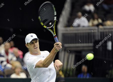 Sam Querrey of the United States Returns to Thiago Alves of Brazil During the Deciding Rubber Match of the Davis Cup 2013 World Group First Round Between the United States and Brazil in Jacksonville Florida Usa 03 February 2013 United States Jacksonville