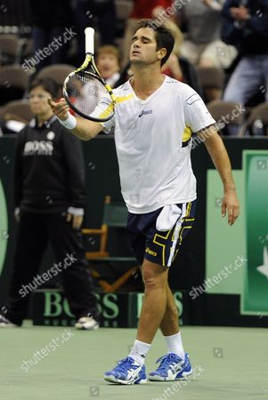 Thiago Alves of Brazil Reacts During His Loss to Sam Querrey of the United States During the Deciding Rubber Match of the Davis Cup 2013 World Group First Round Between the United States and Brazil in Jacksonville Florida Usa 03 February 2013 United States Jacksonville