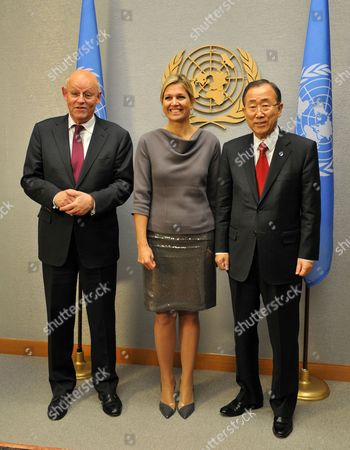 Princess Maxima of the Netherlands (c) and Uri Rosenthal Foreign Minister of Netherlands (l) Greet Ban Ki-moon United Nations Secretary General the Day Before the Opening of the 67th Session of the United Nations General Assembly at United Nations Headquarters in New York New York Usa 24 September 2012 United States New York