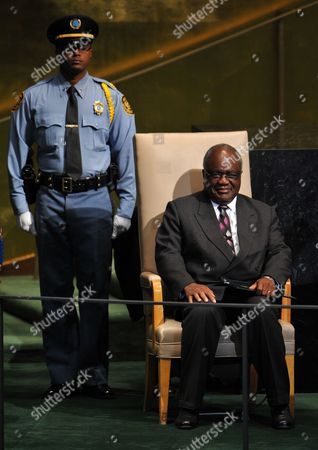 Hifikepunye Pohamba President of the Republic of Namibia Waits to Address the Opening of the 67th Session of the United Nations General Assembly at United Nations Headquarters in New York New York Usa 25 September 2012 United States New York
