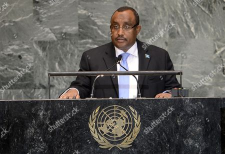 Stock Picture of Abdiweli Mohamed Ali Prime Minister of the Transitional Federal Government of the Somali Republic Addresses the 67th Session of the United Nations General Assembly at United Nations Headquarters in New York New York Usa 27 September 2012 United States New York