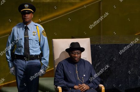 Goodluck Ebele Jonathan President of Nigeria Prepares to Speak During the 67th Session of the United Nations General Assembly at United Nations Headquarters in New York New York Usa 25 September 2012 United States New York