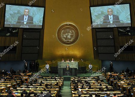Porfirio Lobo Sosa President of Honduras Addresses a High Level Meeting About the Rule of Law on the Day Before the Opening of the 67th Session of the United Nations General Assembly at United Nations Headquarters in New York New York Usa 24 September 2012 United States New York