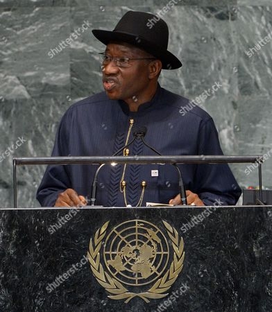 Goodluck Ebele Jonathan President of Nigeria Speaks During the 67th Session of the United Nations General Assembly at United Nations Headquarters in New York New York Usa 25 September 2012 United States New York
