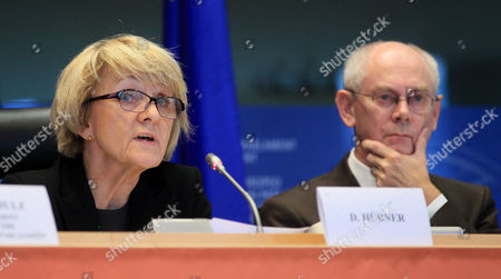 Polish Mep Danuta Maria Hubner (l) Chair of the Ep Committee on Regional Development and President of the European Council Herman Van Rompuy During the Opening Session of 10th European Week of Regions and Cities at the European Parliament in Brussels Belgium 08 October 2012 Belgium Brussels